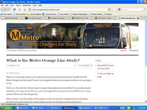 Metro Orange Line Study Web Site Screen Shot