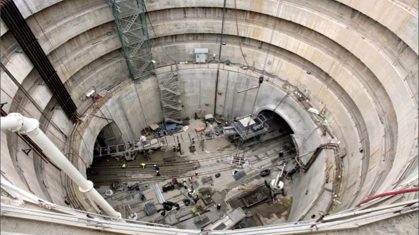 A mine shaft constructed as part of the new subway project in Barcelona.
