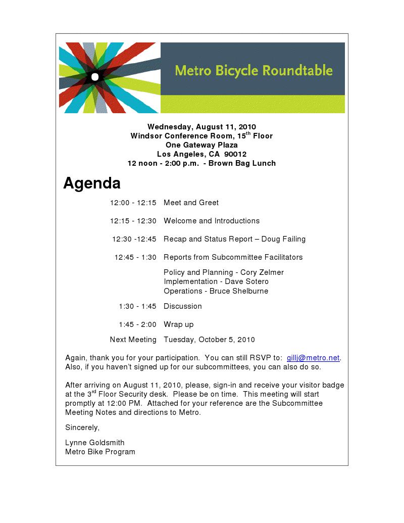 Bicycle Roundtable Agenda