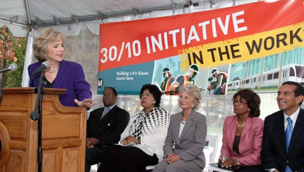 From left, Sen. Barbara Boxer, Supervisor Mark Ridley-Thomas, Rep. Diane Watson, Rep. Jane Harman, Rep. Maxine Waters and L.A. Mayor Antonio Villaraigosa. Photo by Luis Inzunza.