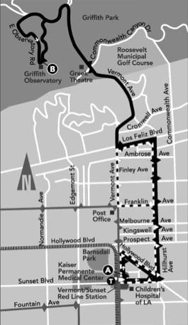Weekend Observatory Shuttle map.