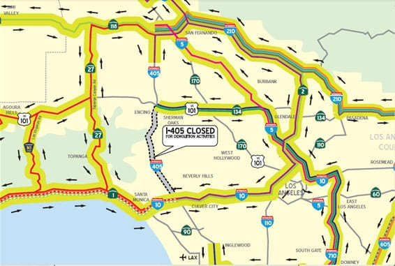 UPDATE 6.2.11 - Click on detail above for a set of maps that illustrate detours for planned closure of a portion of the I-405 July 16-17.