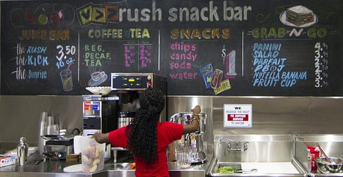 The Rush Snack Bar menu.