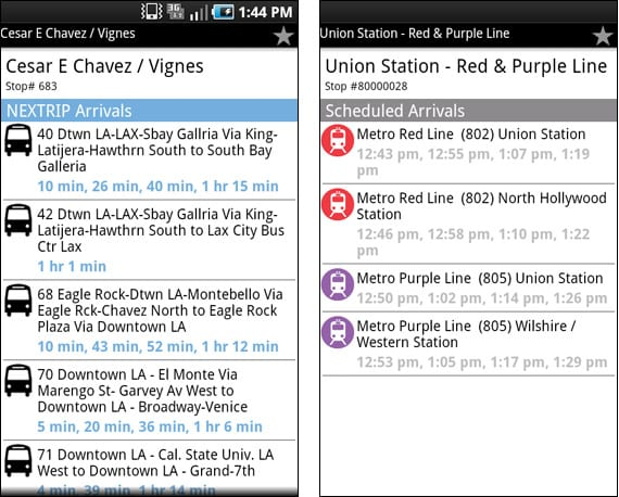Go Metro for Android - Nextrip and scheduled arrivals