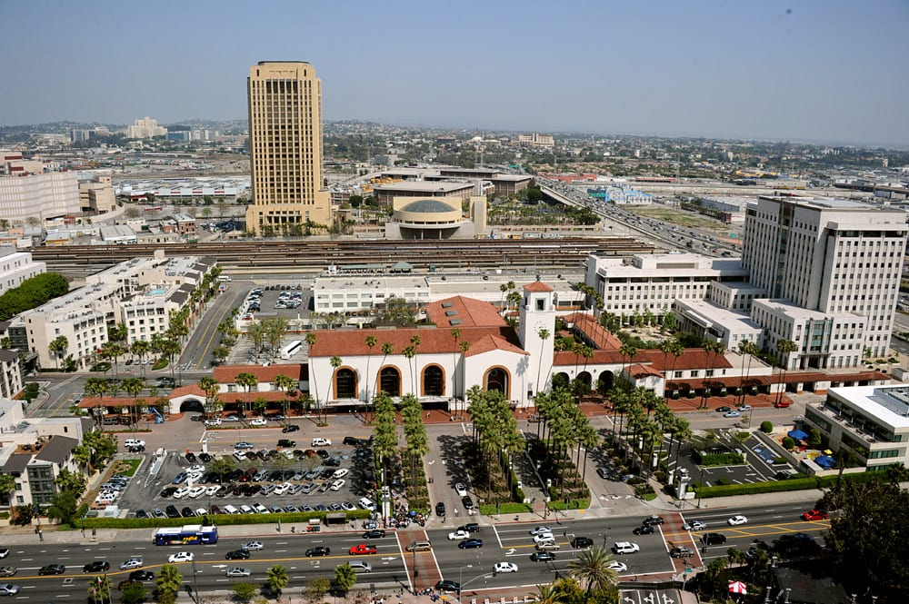 Aerial of Los Angeles Union Station and site on May 6, 2012. Photo by Gary Leonard