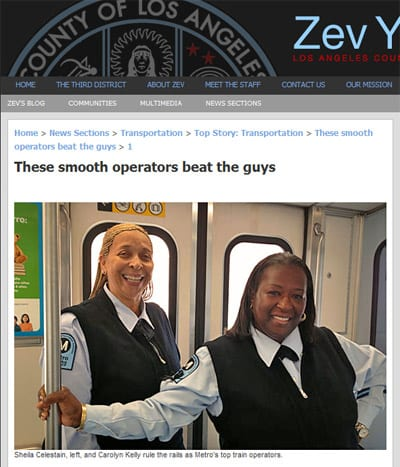 Supervisor Yaroslavsky's website features Metro's first all-female team of operators to compete in the APTA International Rail Rodeo. Image is a screen shot from Supervisor Zev Yaroslavsky's website: zev.lacounty.gov
