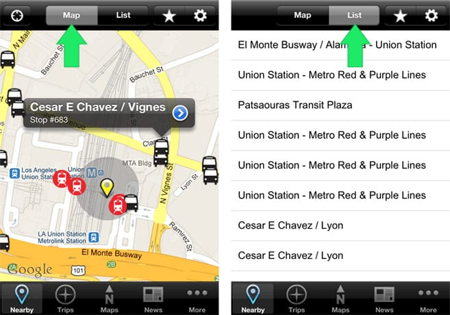 Nearby: view stations/stop via map or text list