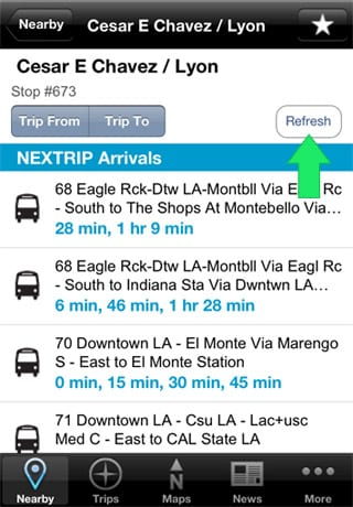Bus Stop screen: Refresh my arrival times!