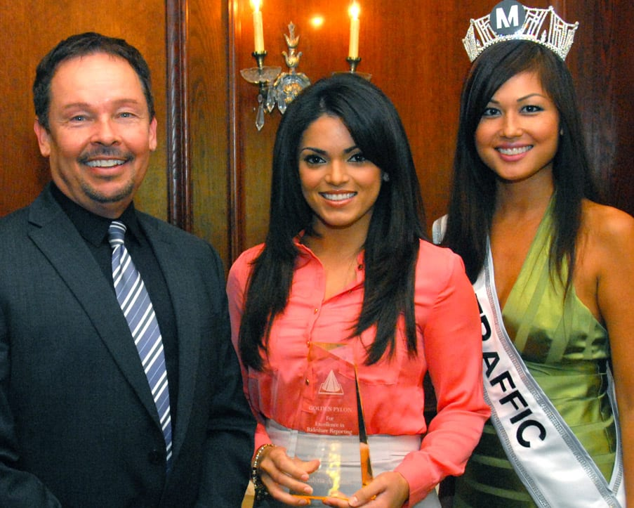 KABC reporter Kalyna Astrinos with Metro's Martin Buford and Miss Traffic Sofia Mach.