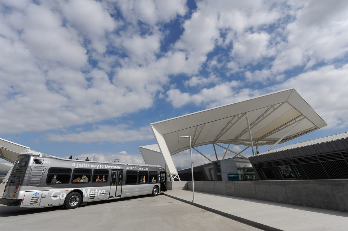 Ready to roll: Silver Line bus pulls into the El Monte Bus Station. Photo by Gary Leonard.