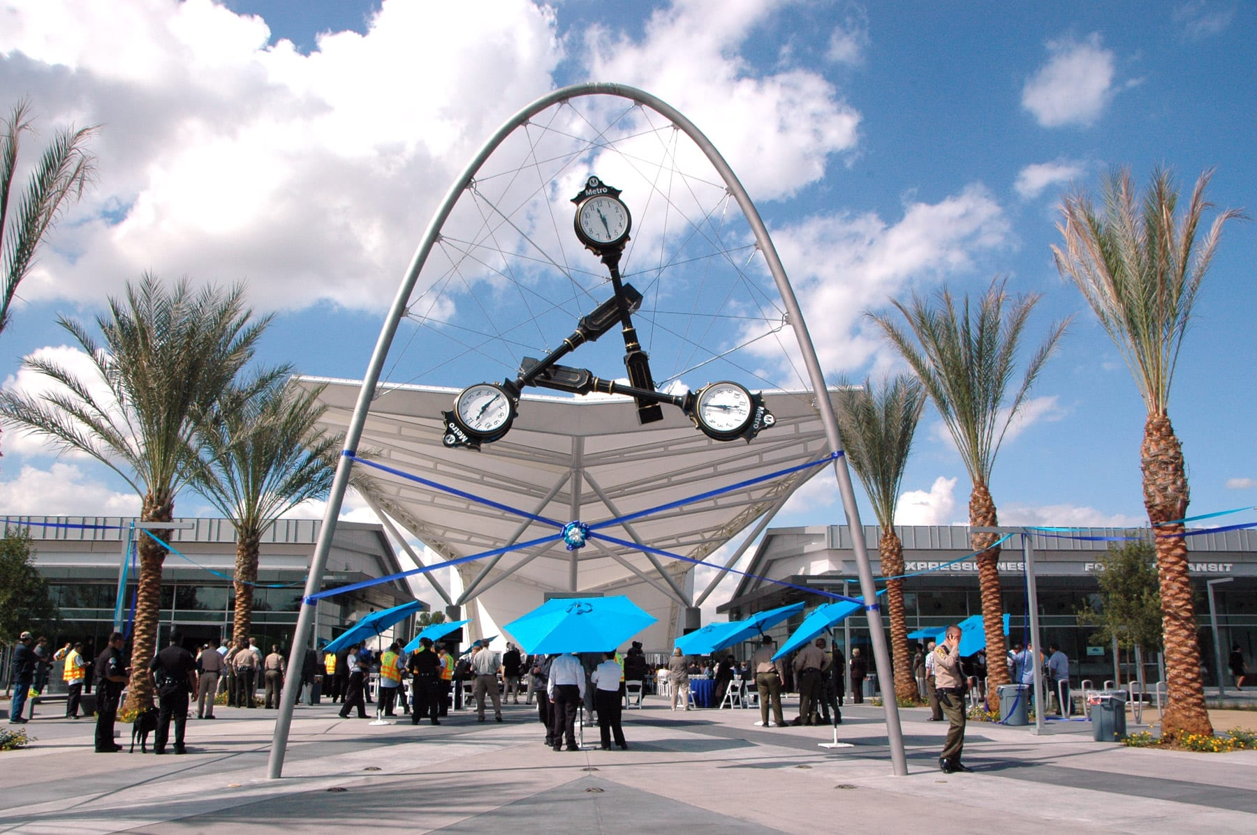 Time Piece: Iconic sculpture by Donald Lipski frames the entrance to the new El Monte Station, which opens to the public this Sunday. Photo by Luis Inzunza.