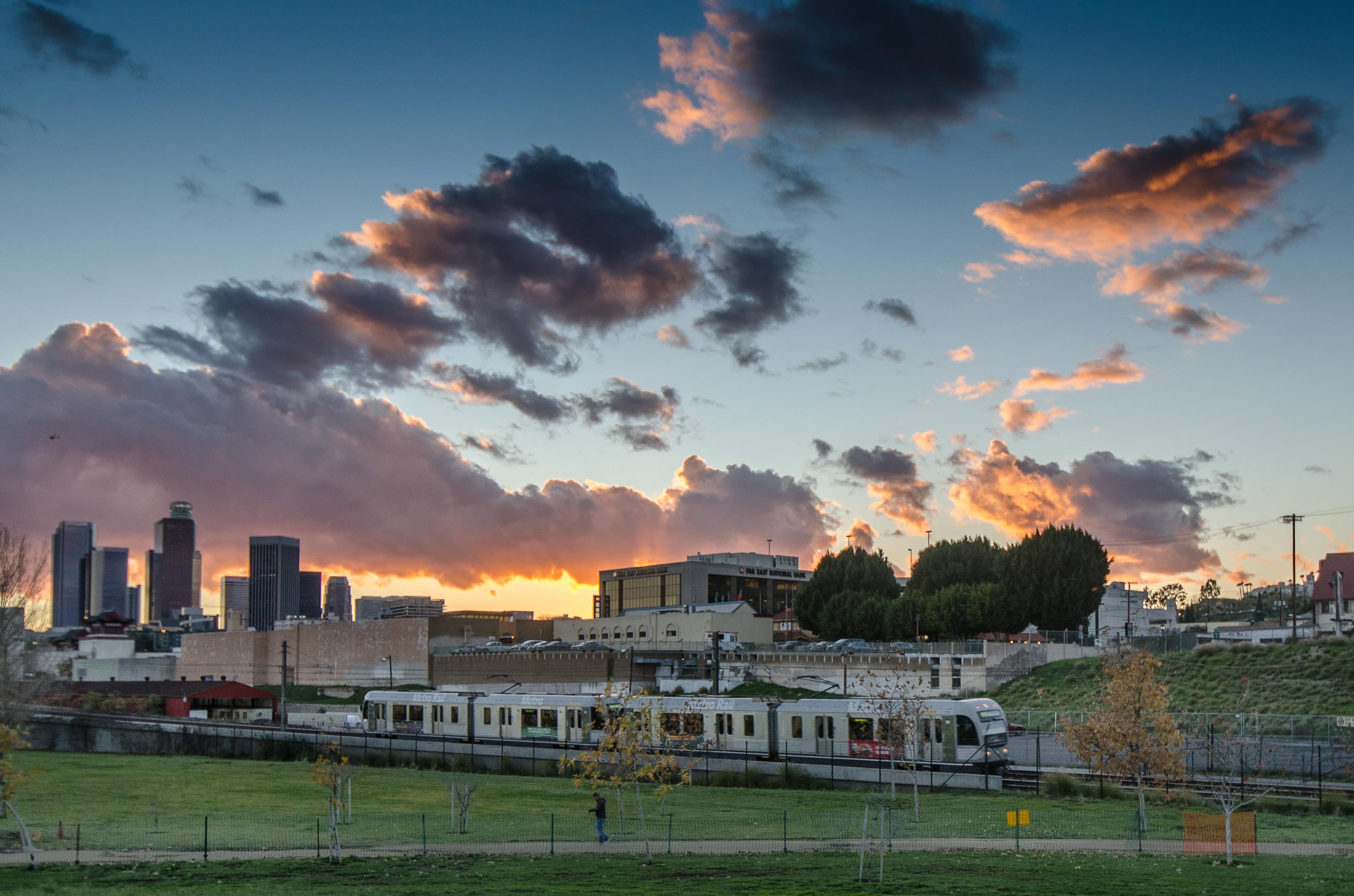 The Gold Line adjacent to Los Angeles State Historic Park on a recent afternoon. Photo by Steve Hymon/Metro.