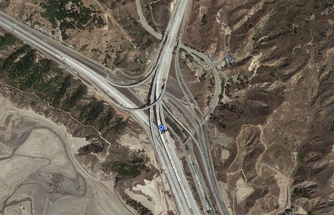 The blue pin shows the new connector that allows motorists to travel between the HOV lanes on the 5 and 14 freeways. Photo: Google Maps.