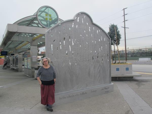 The artist, Alison Saar, after her sculpture has been installed.