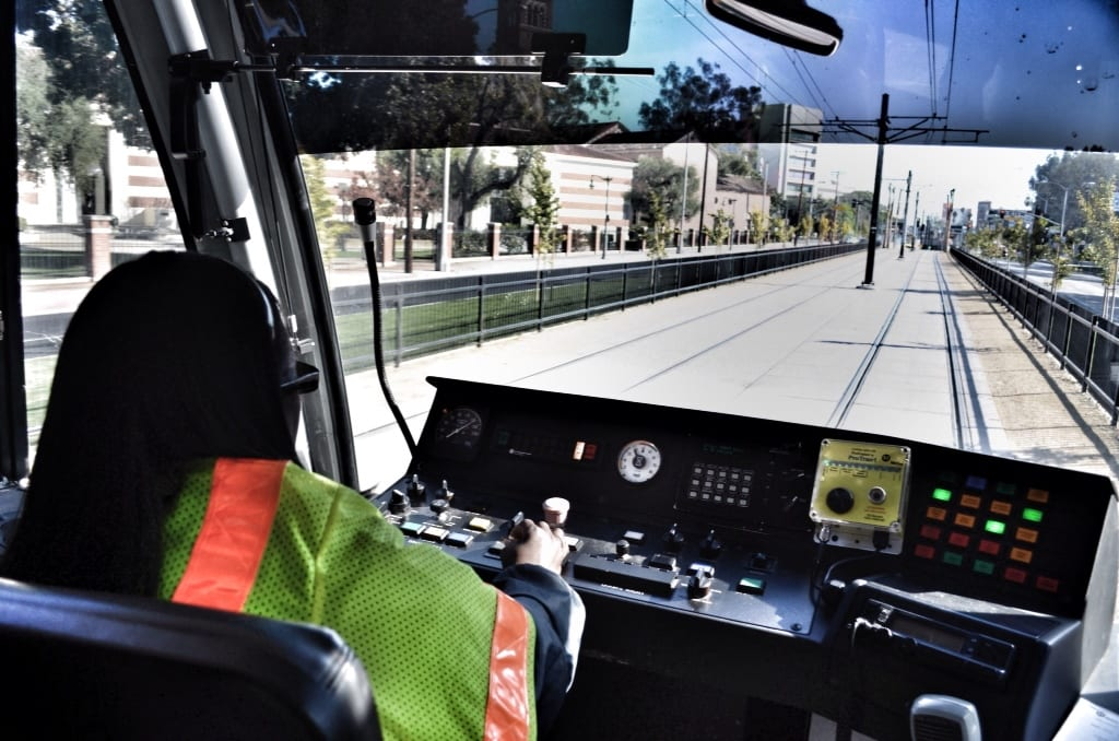 A train operator navigates the Expo Line through the Exposition Park area during testing in 2011. Photo by Steve Hymon/Metro.