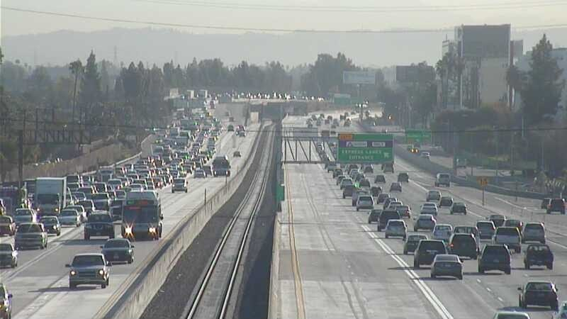 The 10 freeway on Monday morning; the westbound lanes are on the left. Photo by Metro.