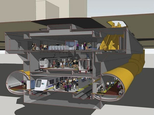 A rendering of BART's proposed station revisions. Image: BART.