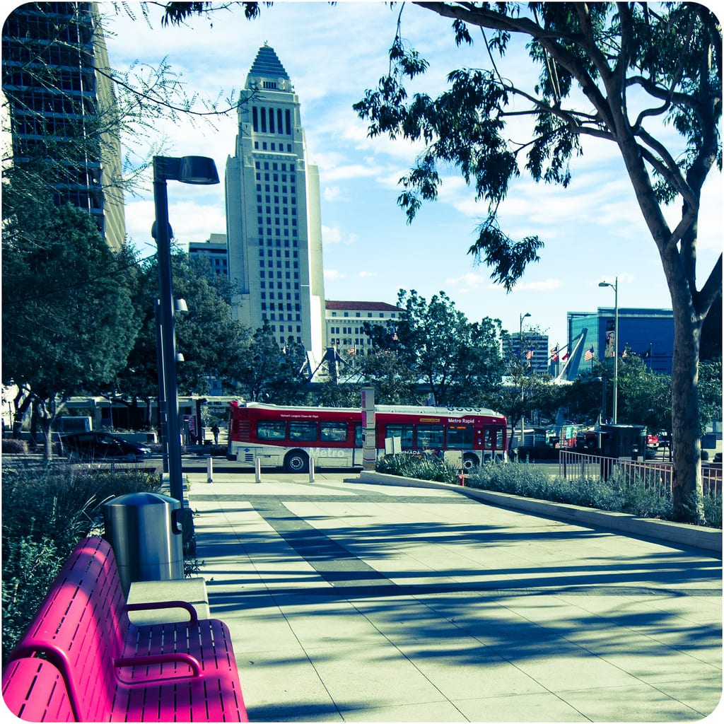 ART OF TRANSIT: A Metro Rapid bus on Broadway passes by Grand Park and Los Angeles City Hall. Photo by Steve Hymon/Metro.