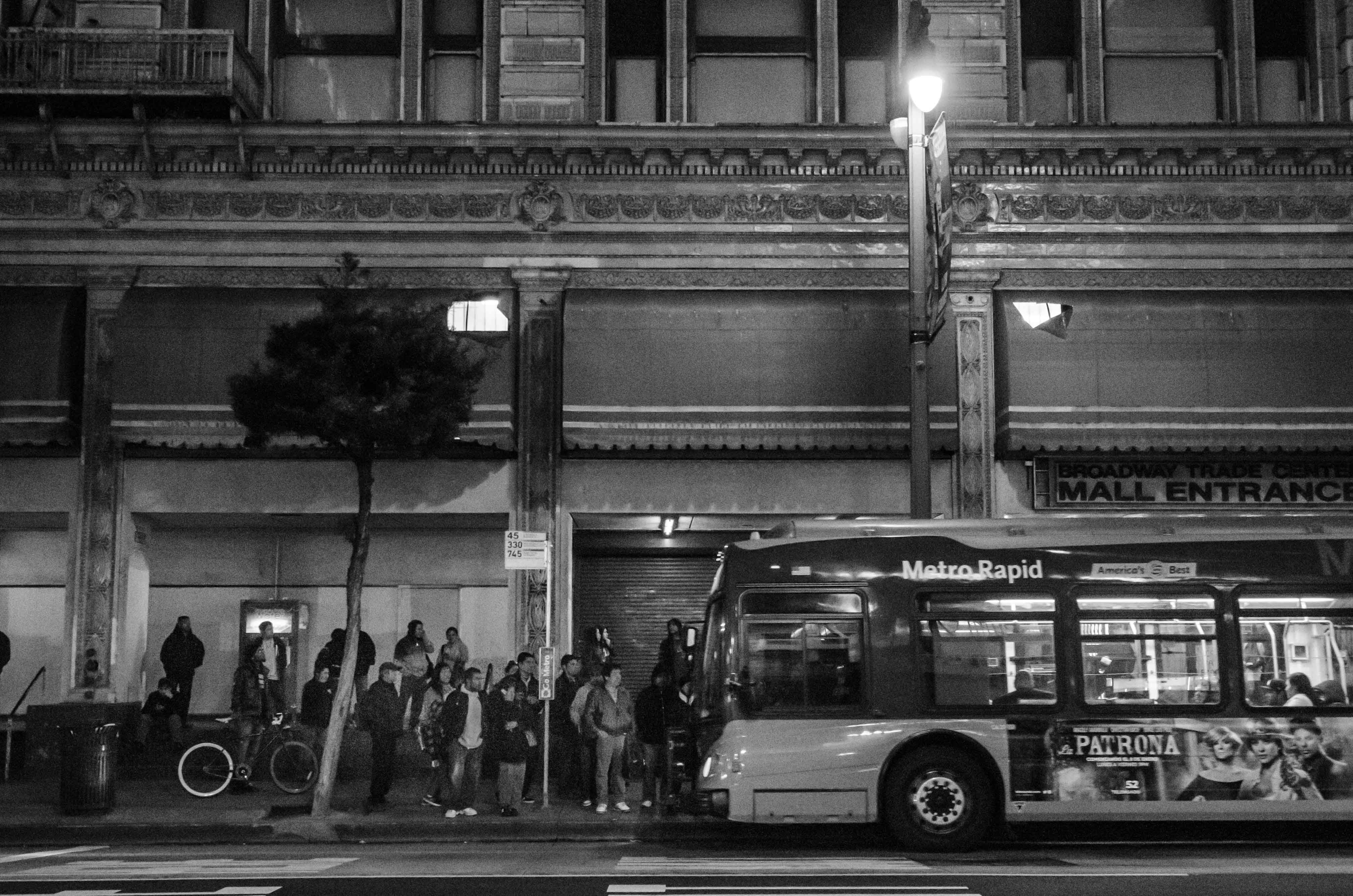 ART OF TRANSIT: A bus on Broadway in downtown Los Angeles. Photo by Steve Hymon/Metro.