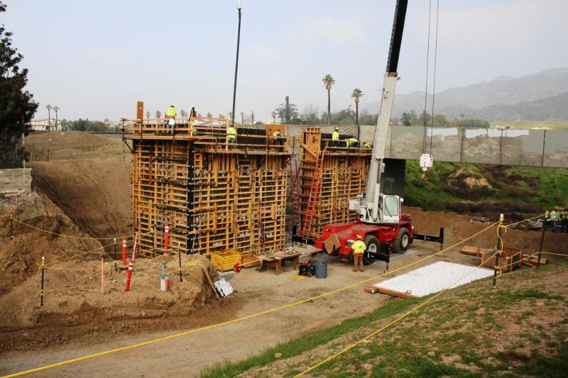 A bridge begins taking shape in Azusa.