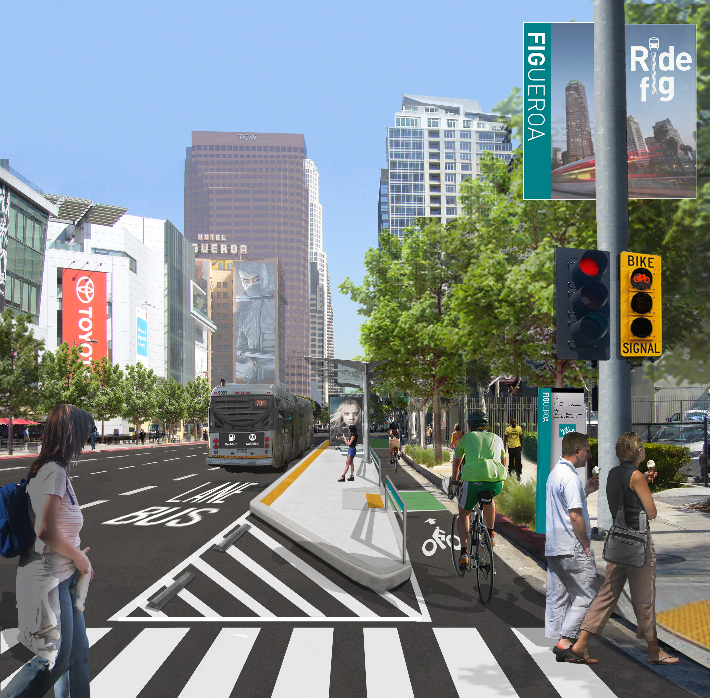 Looking north on Figueroa from the intersection with 11thStreet. Rendering: city of Los Angeles.
