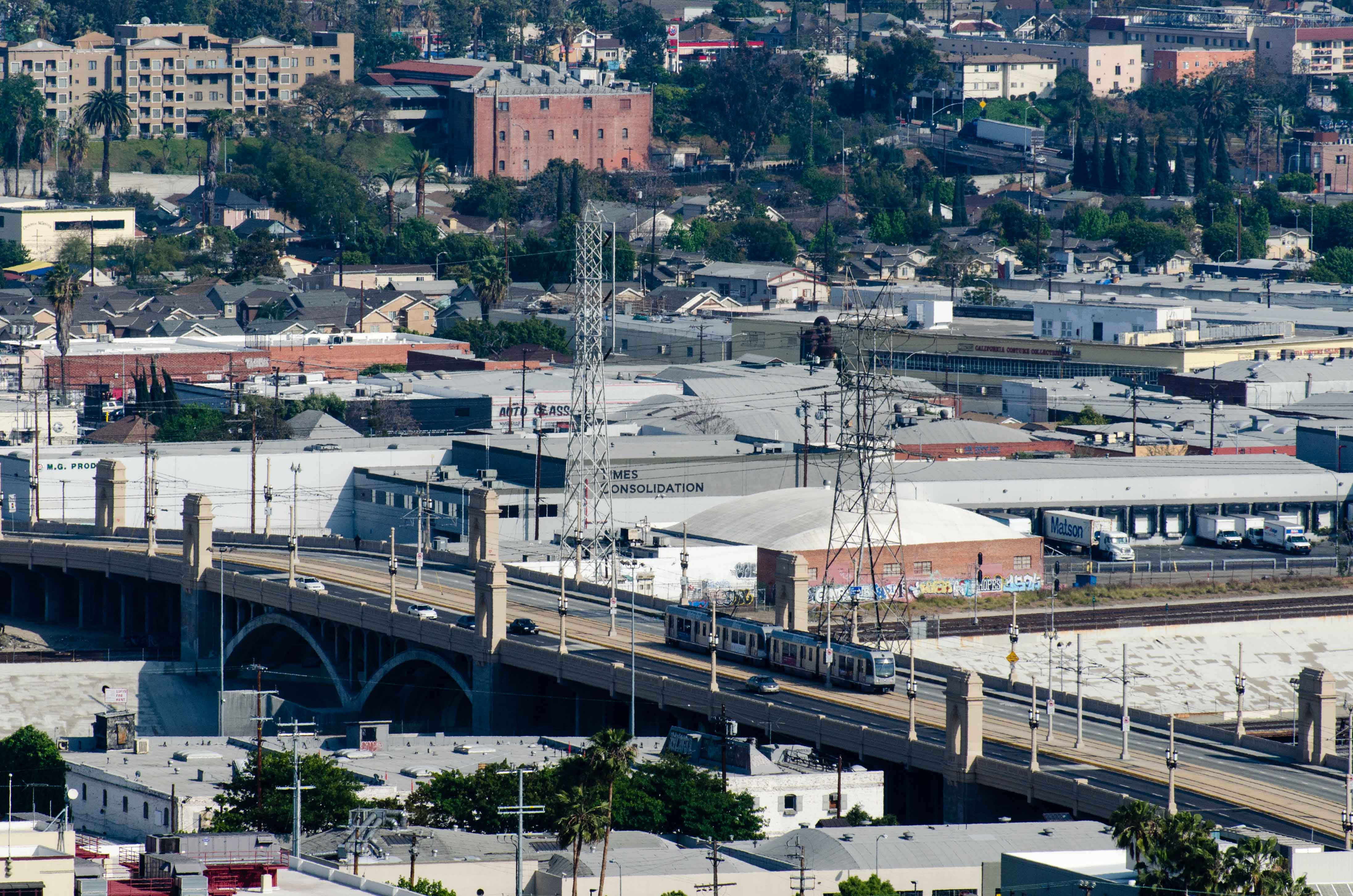 ART OF TRANSIT: The Gold Line crosses the 1st Street Bridge; click to see larger. Photo by Steve Hymon/Metro.