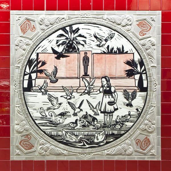 Detail of artwork by Sonia Romero at Westlake/MacArthur Station
