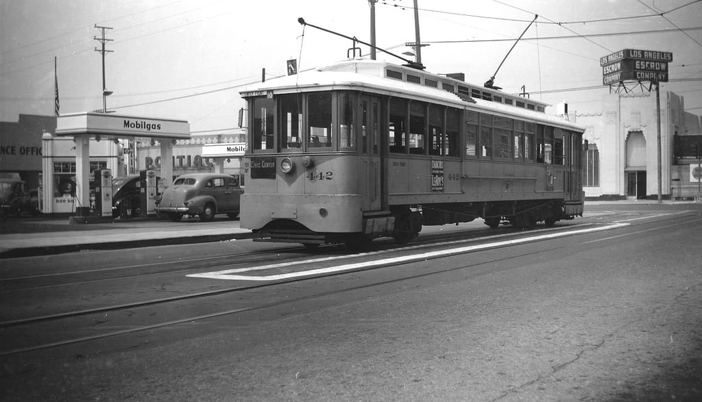 ART OF TRANSIT: Guess the intersection! And after you incorrectly guess, click above to check out the Metro Library's awesome Flickr stream with tons of similar photos of Los Angeles Transit Lines' streetcars. Photo: Alan Weeks.