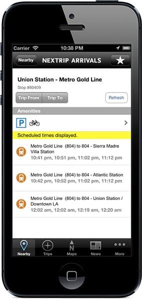 Scheduled rail arrivals
