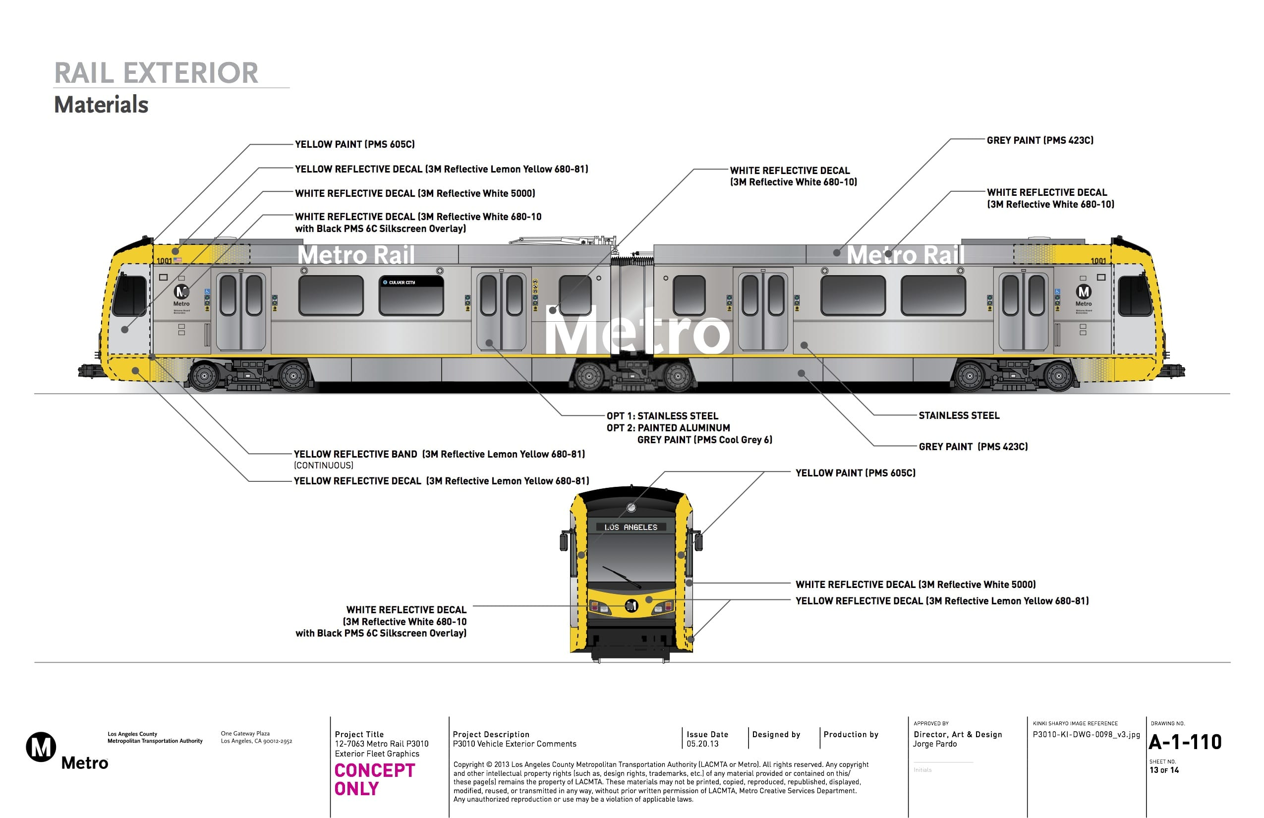 Drawings of the exterior of the new light rail vehicles prepared by Metro's Creative Service department and formally submitted to Kinkisharyo.