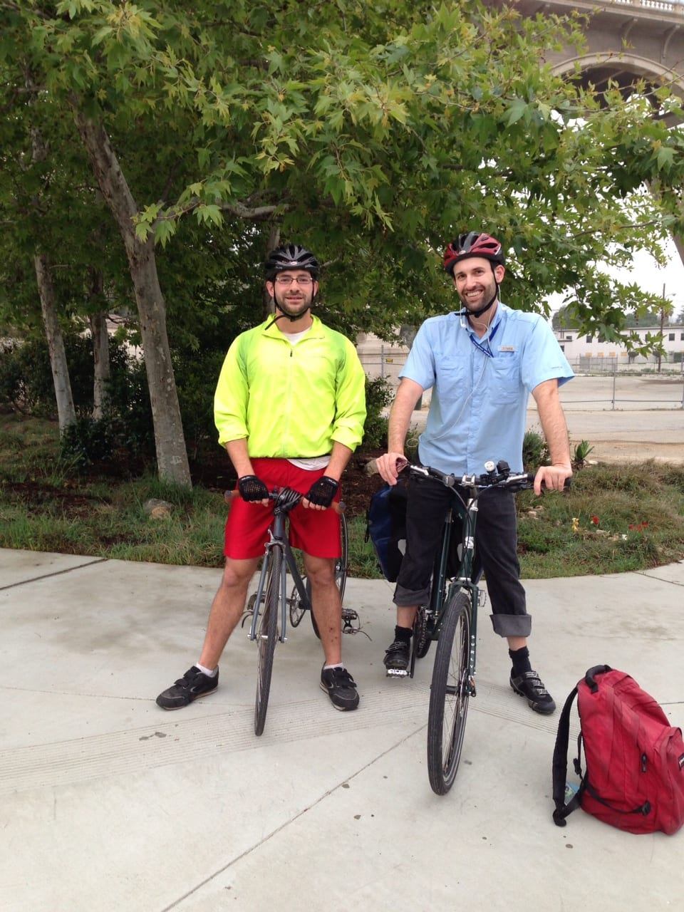 Charles and Tushar on their morning bike train to work.