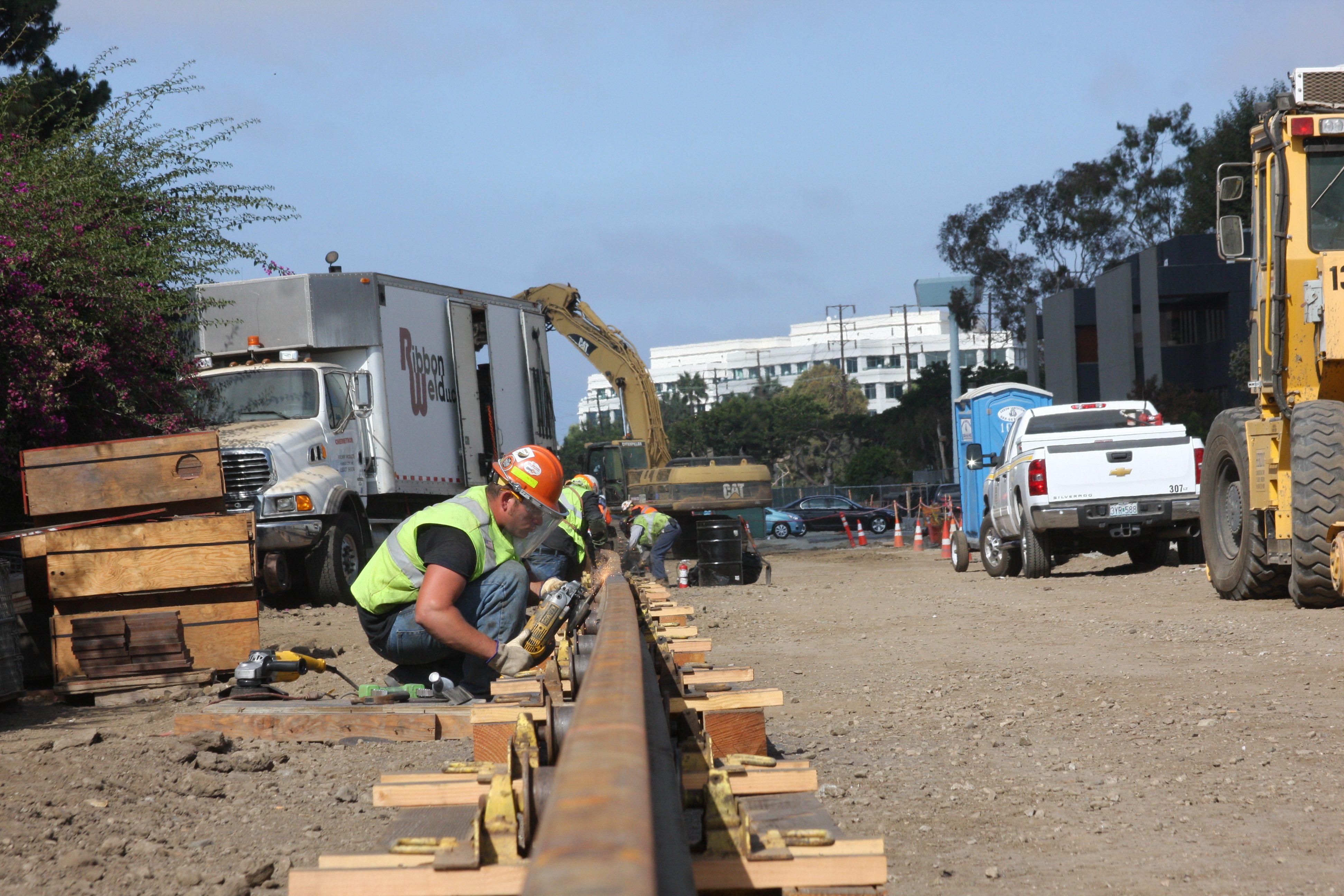 Rail welding for the Expo Line near Stewart Street in Santa Monica.