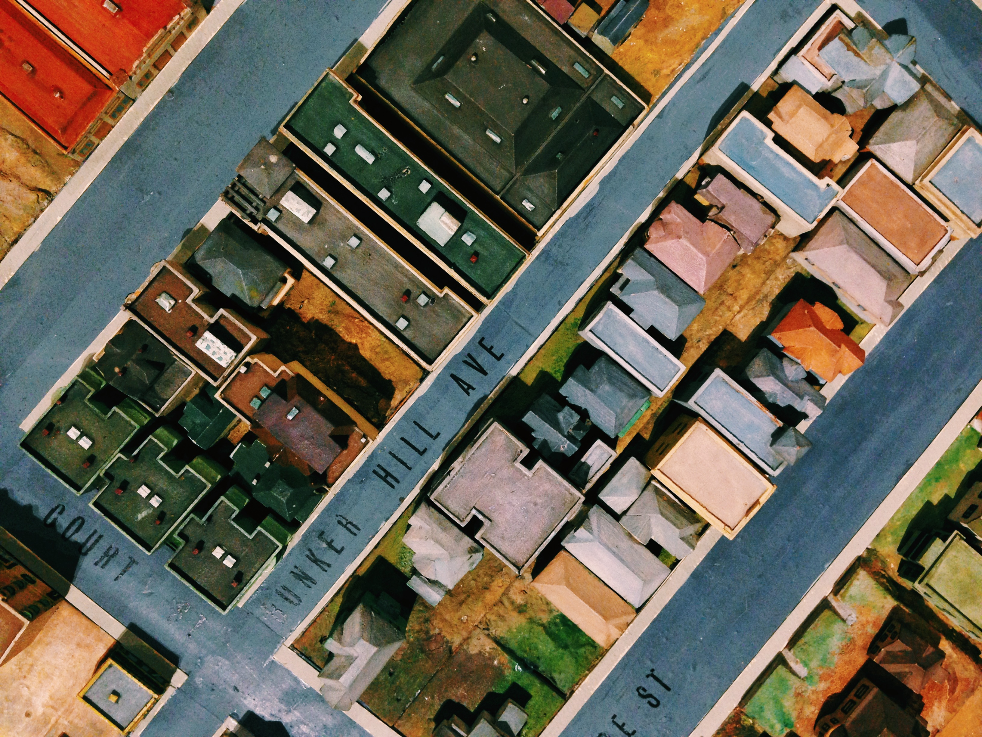 """ART OF TRANSIT: The model of downtown Los Angeles in 1940 in the Museum of Natural History's """"Becoming L.A."""" exhibit. Photo by Steve Hymon."""