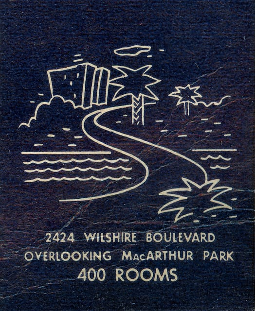 Vintage ad for Park Plaza Hotel near MacArthur Park. The hotel still exists today - and is served by the Westlake/MacArthur Park Station - as an event venue. Photo: jericl cat via Flickr Creative Commons