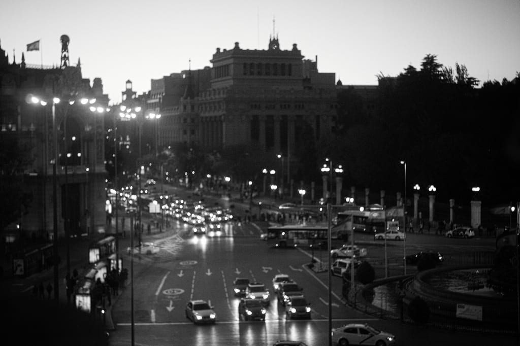 Traffic in Madrid in a photo taken last month. Photo by Grey World, via Flickr creative commons.