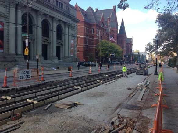 Work on the Cincy Streetcar project in front of Music Hall. Photo by David Cole.