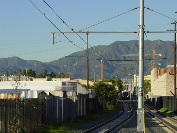 A train makes its way from Fillmore to South Pasadena Station.