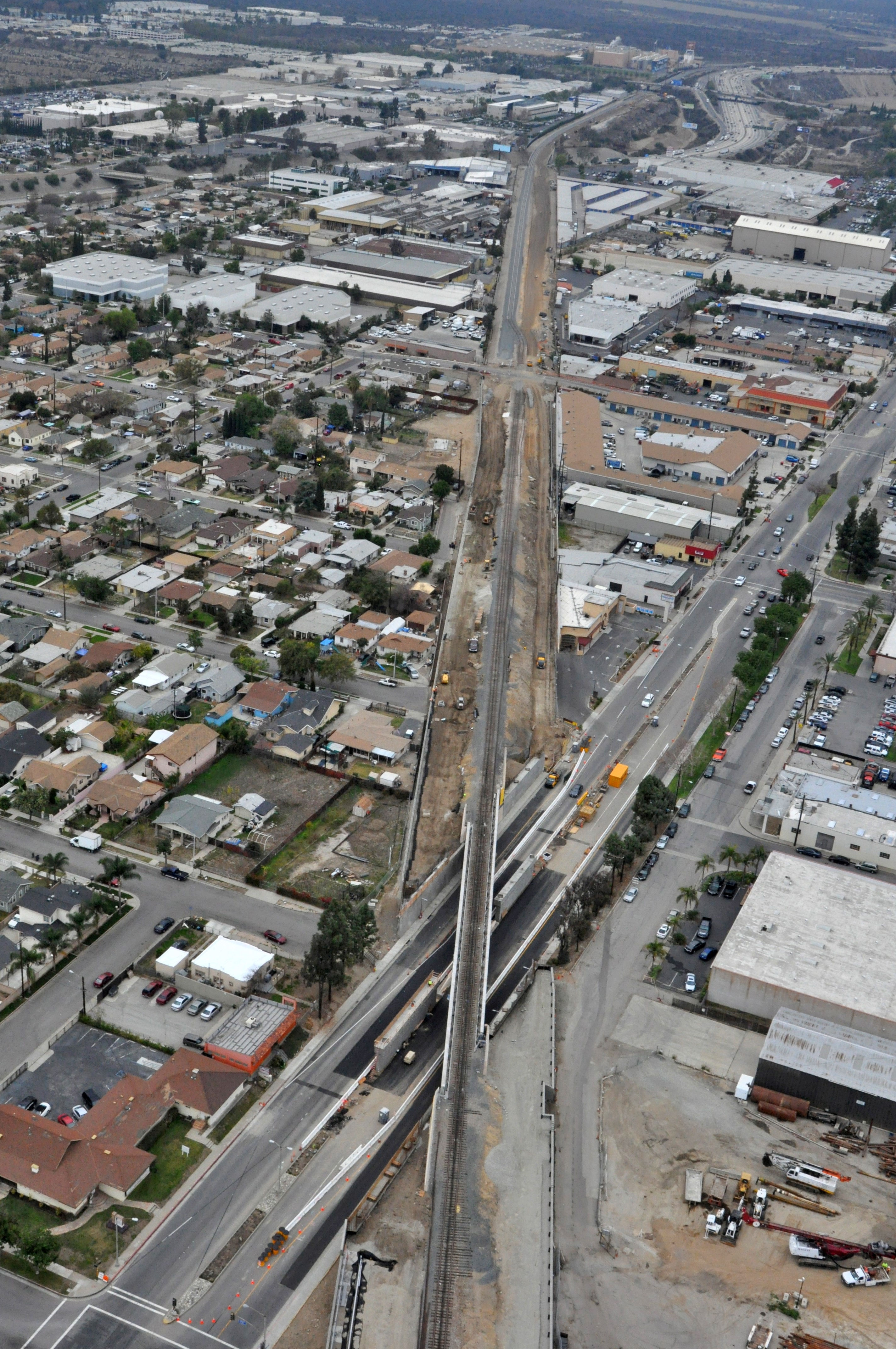 The Gold Line tracks looking east from the bridge over Foothill Boulevard in Azusa.