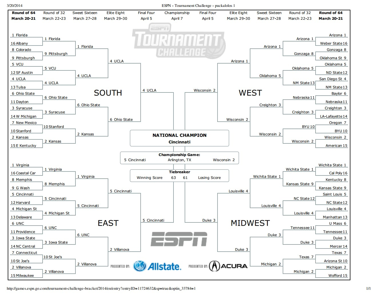 Just in case anyone needs help with their bracket, here's mine. Copy at your own risk!