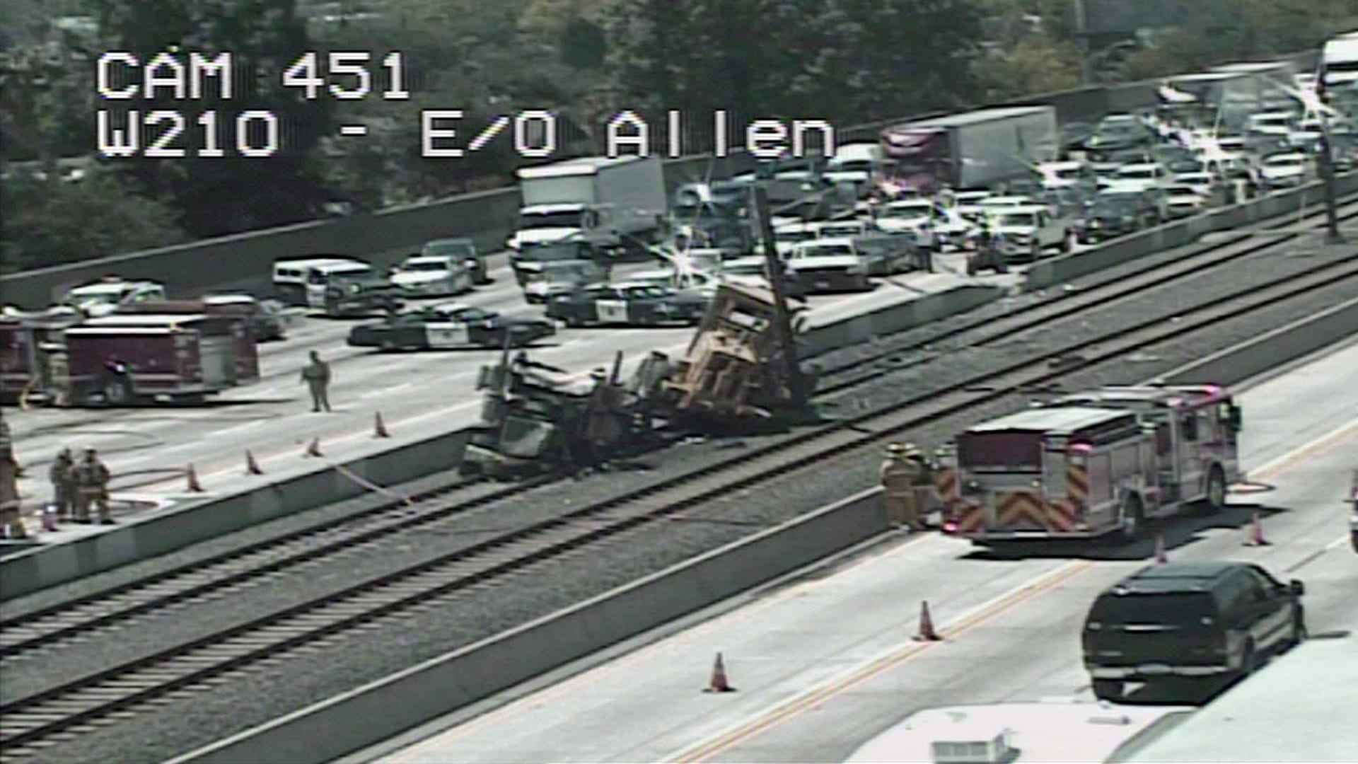 Still of the crash on the 210 taken from Caltrans traffic camera.