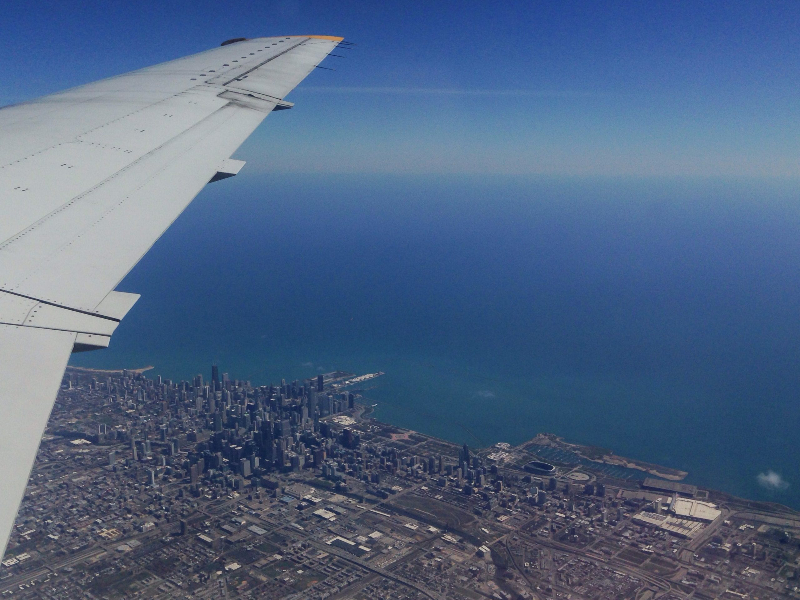 Art of Transit: Downtown Chicago, freeways and transit lines as seen from United Airline's Yoda-sized seats on Saturday morning as I made my way back to L.A. Photo by Steve Hymon.