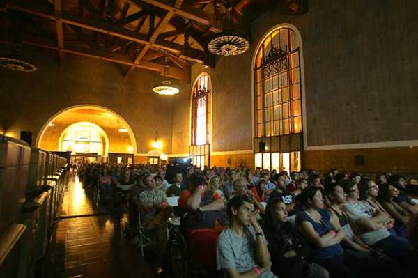 "Our very first event took place in the historic ticketing hall—a screening of the neo-noir ""Chinatown,"" a partnership with the Downtown Film Festival Los Angeles.  Photo: LA Observed"
