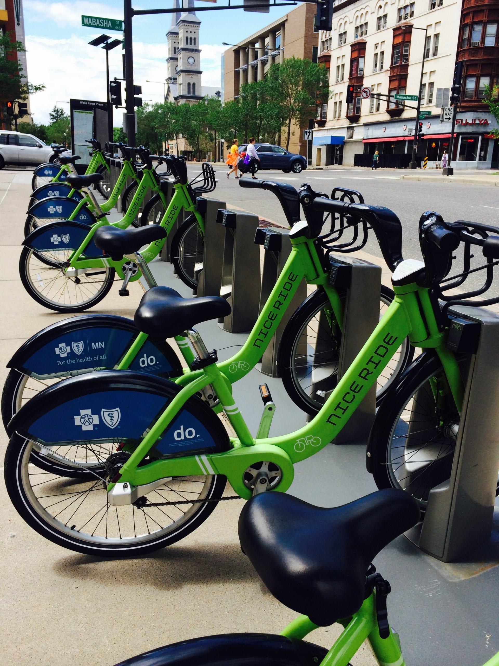 A Nice Ride bike share kiosk in Saint Paul.