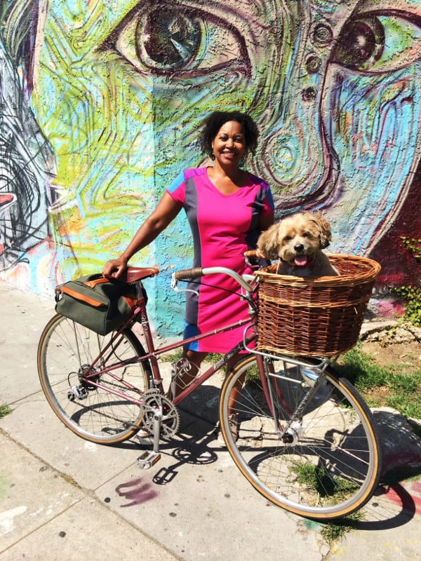Vanessa Gray, new Executive Director of C.I.C.L.E accompanied by her cute doggy and awesome vintage bike.