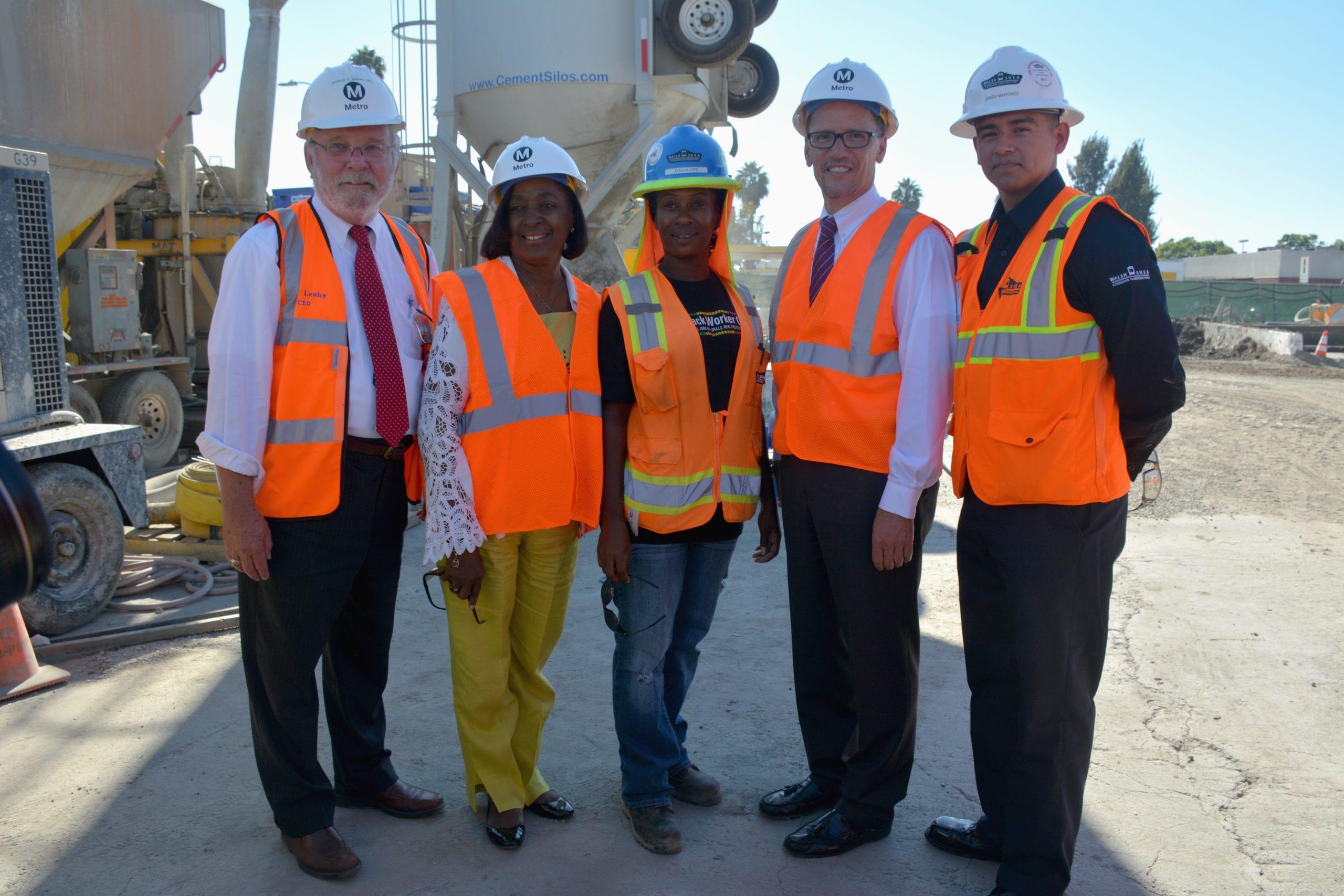 Metro CEO Art Leahy, Metro Board Member Jackie Dupont-Walker, LeDaya Epps, U.S. Labor Secretary Thomas Perez and James Martinez at the Crenshaw/Expo Yard. photo Luis Inzunza/Metro.
