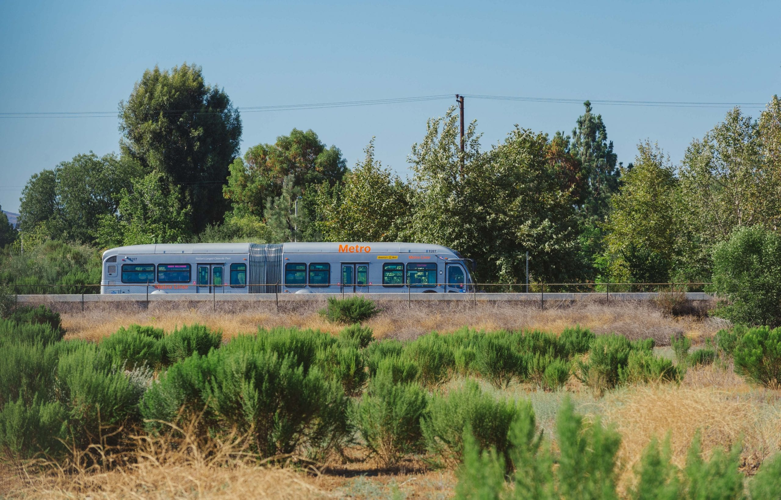 ART OF TRANSIT: The Orange Line crosses the Sepulveda Basin. Photo by Steve Hymon/Metro.