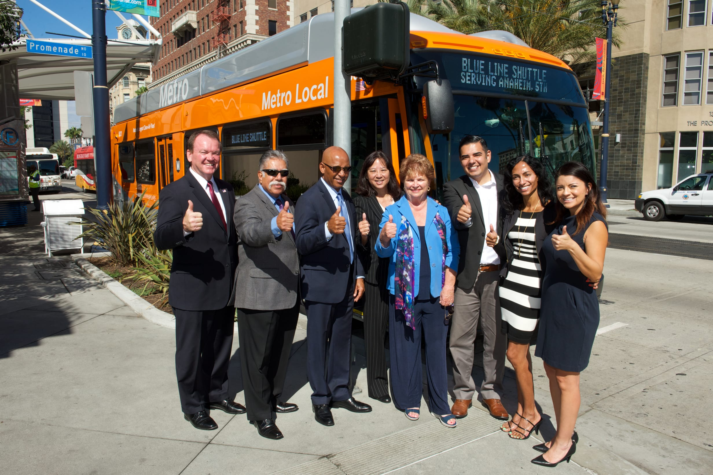 City and elected officials at this morning's media event in downtown Long Beach. From left, Long Beach Police Chief Jim McDonnell, Councilman Roberto Uranga, Long Beach Transit CEO Kenneth McDonald, Metro Deputy CEO Lindy Lee, Metro Board Member Diane DuBois, Long Beach Mayor Robert Garcia, Long Beach Vice Mayor Suja Lowenthal and Councilwoman Lena Gonzalez.