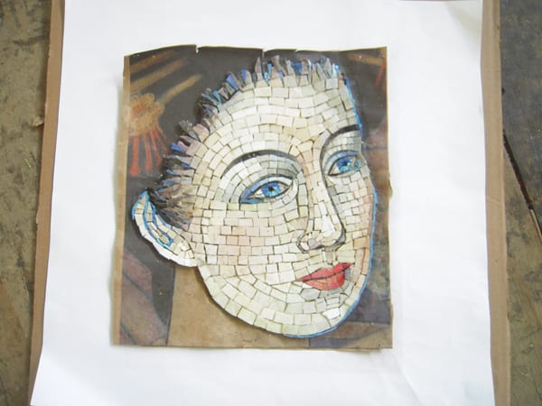 The two photos above show the assembly of thousands of glass mosaic pieces to match the artist's original drawings at the fabricator's shop. The high resolution scans of the original drawings are visible underneath.  Photo courtesy Perdomo Studio.