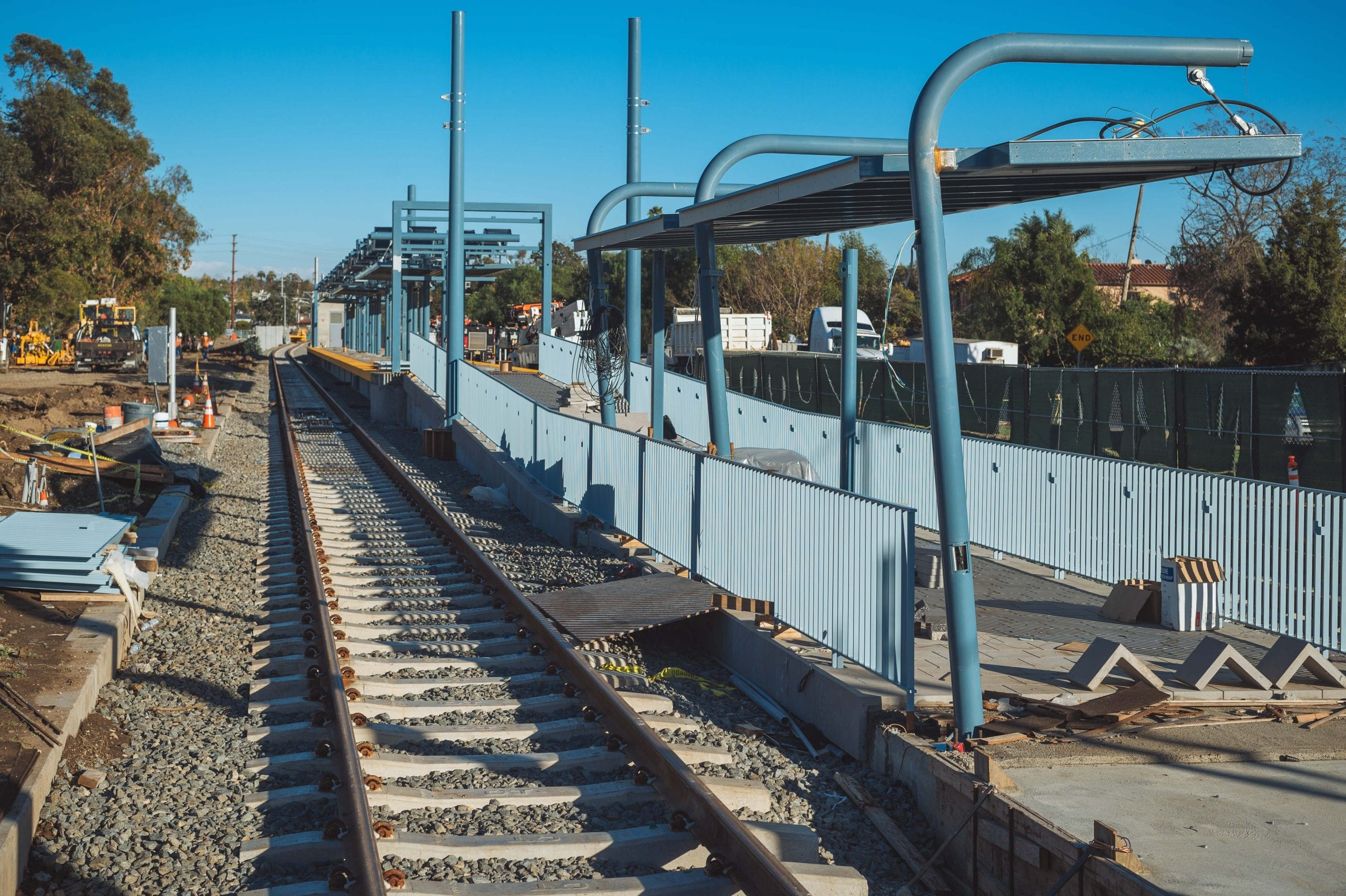 ART OF TRANSIT: The future Westwood/Rancho Park station for the Expo Line as seen from Westwood Boulevard this weekend. Work on the six-mile second phase of the Expo Line continues with construction scheduled for completion next year. Photo by Steve Hymon/Metro.