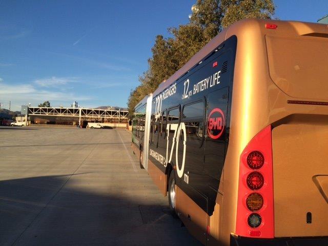 electric bus in Metro yard